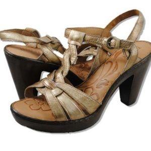Born Maybelle Gold Platform Heel Slingback Sandals